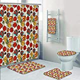 Philip-home 5 Piece Banded Shower Curtain Set Floral Seamless in Retro Style Pattern Adornment