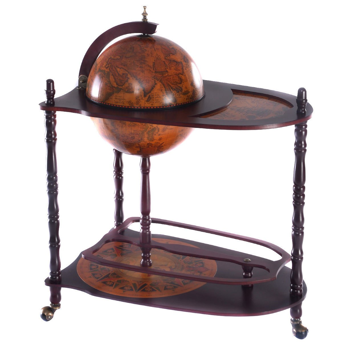 34'' Globe Wine Bar Stand H 16th Century Italian Rack Liquor Bottle Shelf Wood by White Bear & Brown Rabbit