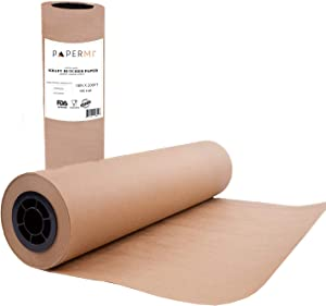 """Brown Butcher Paper Roll Kraft Wrapping Paper for Beef Briskets, BBQ Meat Smoking USA Made, All Natural Food Grade, Unbleached, Unwaxed, Uncoated Sheet (18"""" x 200' (2400""""))"""