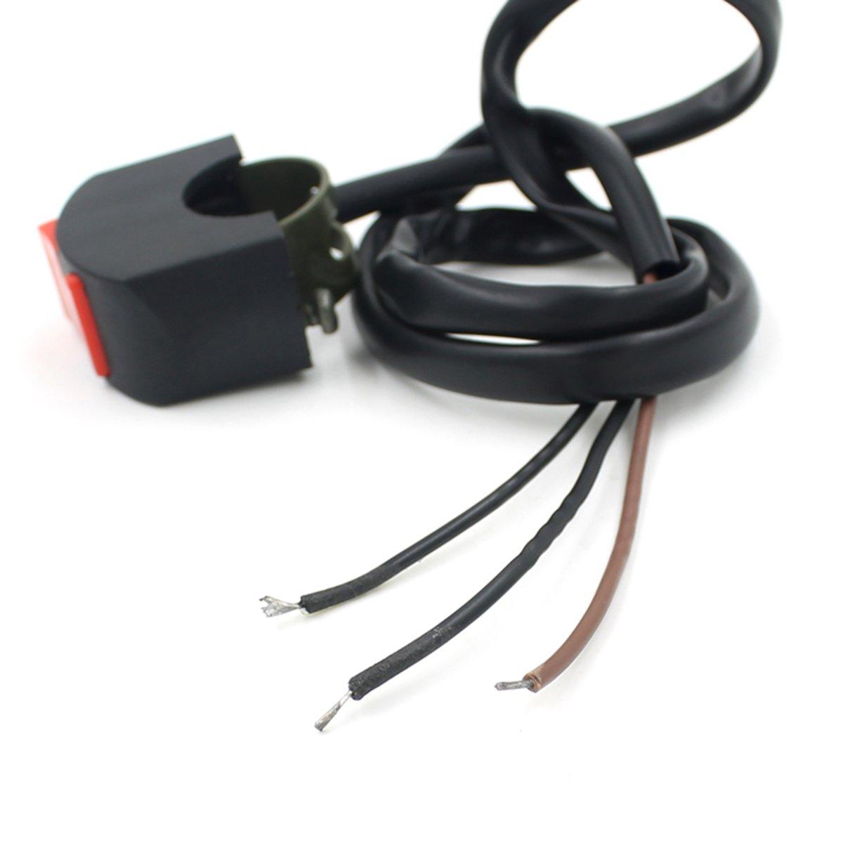 rosenice Gefahr von Schalter Motorrad Motorrad Lenker Montage Gefahr Licht Schalter Knopf Kill Schalter ON//OFF