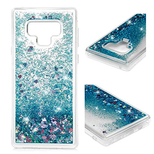 Galaxy Note 9 Case, Samsung Galaxy Note 9 Case, ZSTVIVA Glitter Liquid Case Cover Bling Sparkle Shiny Quicksand Moving Flowing Love Heart 3D Anti-Scratch TPU Bumper for Samsung Galaxy Note 9 - Blue -