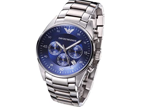 410a918475f Men s Emporio Armani AR5860 Quartz Blue Dial Stainless Steel Watch   Amazon.co.uk  Watches