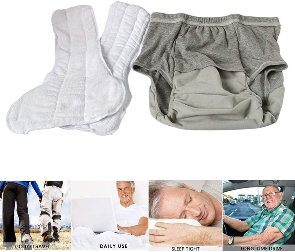 Erwachsene Windel Unisex Erwachsene Stoffwindel Waschbar Wiederverwendbar Alter Mann Behindert Inkontinenzhose mit 2 Eins/ätzen Wiederverwendbare Erwachsene Windel