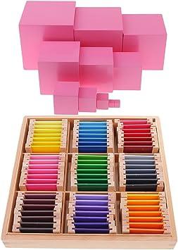 FLAMEER Material Sensorial Montessori Color Caja De Aprendizaje + Torre Rosa para Niños Educación: Amazon.es: Juguetes y juegos
