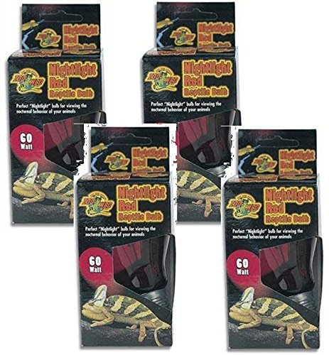 Zoo Med Nightlight Red Reptile Bulb 60 Watts (4 Pack) by Zoo Med