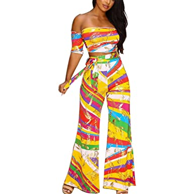 d3597c64ad729 Women s Sexy Off Shoulder Striped 2 Pieces Outfits Jumpsuits Crop Tops and  Long Pants Set Yellow