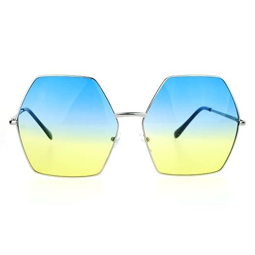 d23b543234e SA106 Gradient Color Lens Oversized Octagon Retro Hippie Groove Sunglasses  Blue Yellow