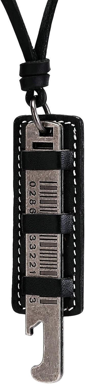 AnaZoz Collar Hombre Collar Acero Inoxidable Hombre Collar Colgante de Hombre Colgante Código de Barras Collar