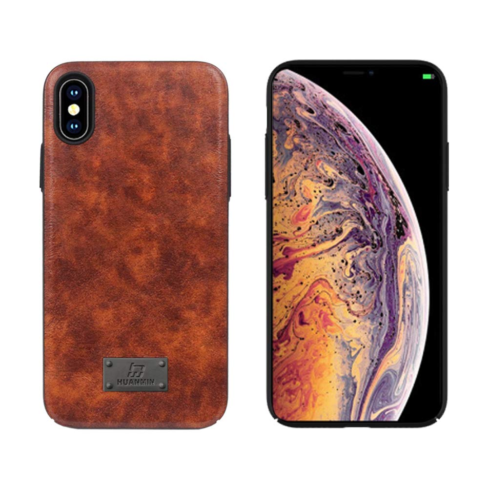 iPhone Xs max Case, Leather Flexible & Soft TPU Luxury Ultra Slim Leather Mobile Phone Case Compatible iPhone Xs Max [Support Wireless Charging] (Brown)