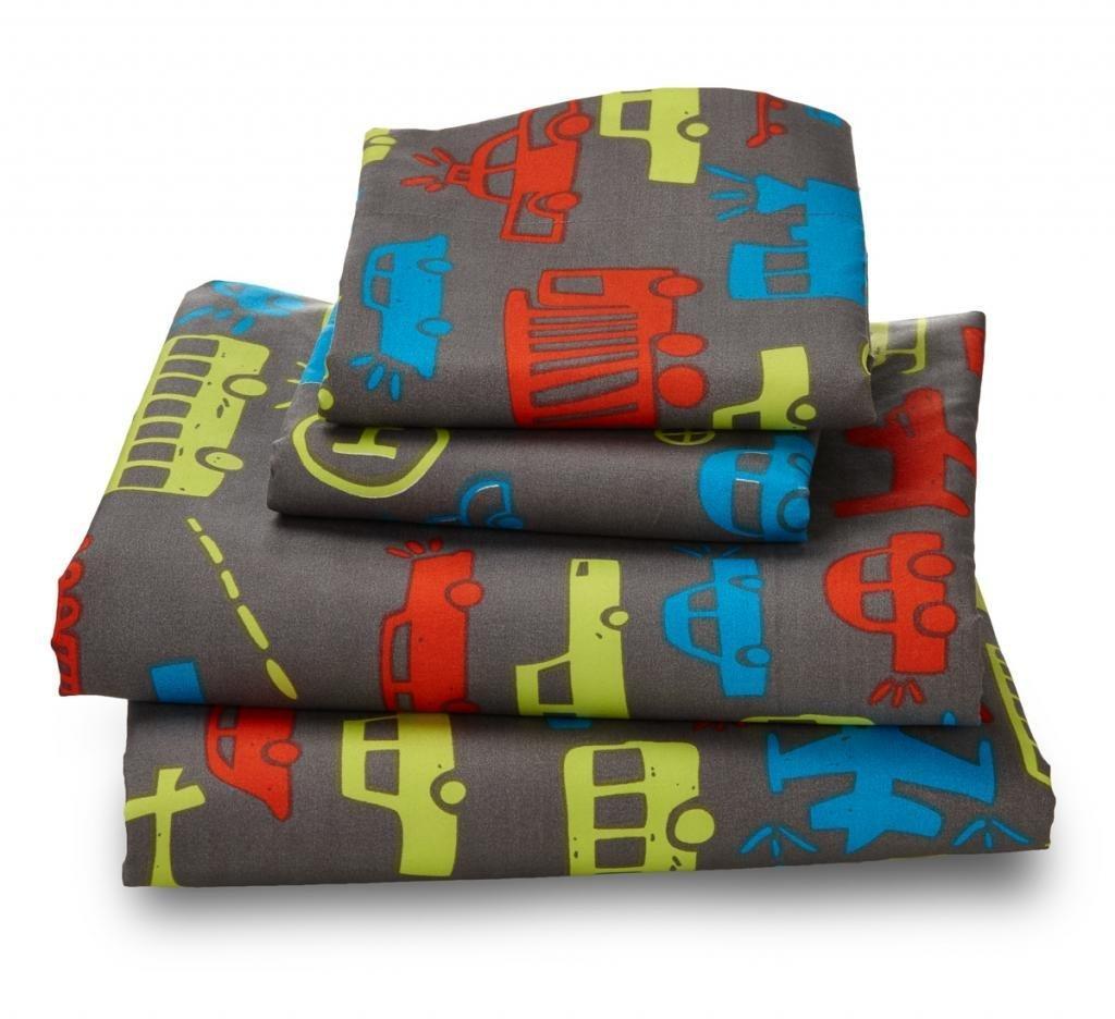 Where The Polka Dots Roam Queen Transportation Print Sheet Set for Kids Bedding - Double Brushed Ultra Microfiber Luxury Bedding Set