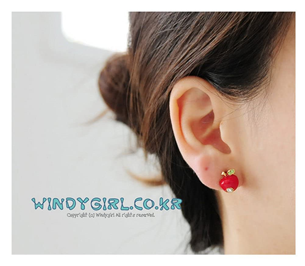 Apple Rhinestones Girls Fashion Stud Earrings 2 Colors