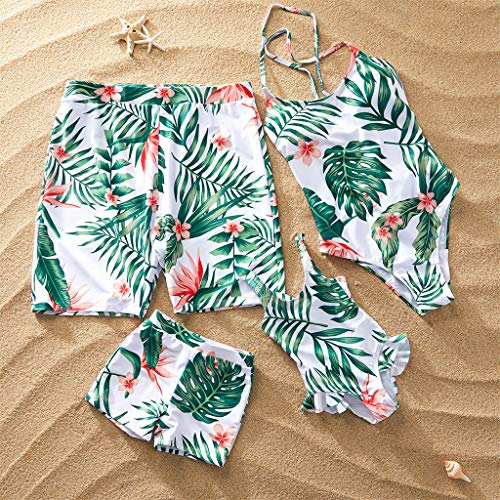 Mommy and Me Family Matching Swimsuit One Piece Beach Wear Summer Leaves Sporty Monokini Bathing Suit Men: L White (Matching Bathing Suits)