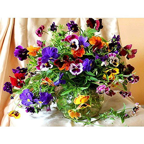 ZSH 5D Diamond Mosaic Diamond Embroiderye Colorful Flowers And Vases Mbroidered Cross Stitch Home Decoration Gift by ZSH