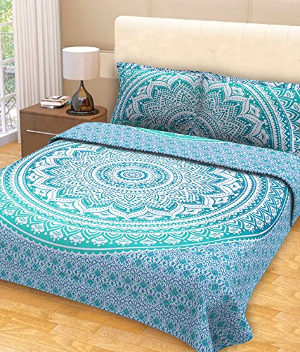 Jaipur Handloom Teal Hippie Tapestry Mandala Bedding with Pillow Covers Bohemian Wall Hanging Hippy Blanket Picnic Beach Throw Ombre Mandala Bedspread for Bedroom Decor, Queen Size Turquoise Green