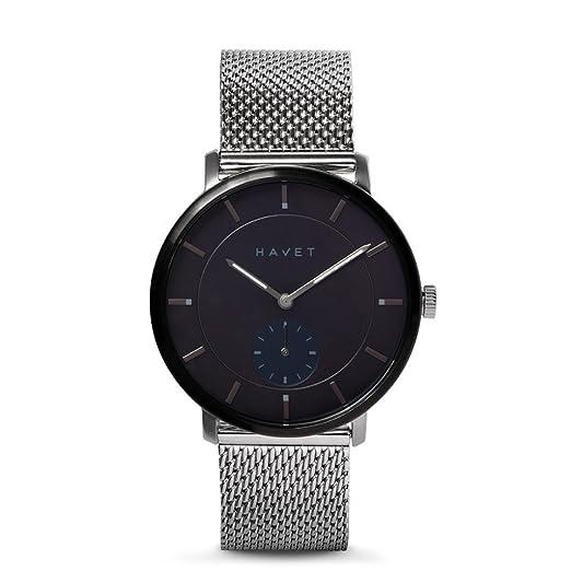 HAVET | Reloj de hombre Byron de acero esfera negra con brazalete de malla