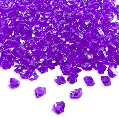 Super Z Outlet Acrylic Color Ice Rock Crystals Treasure Gems for Table Scatters, Vase Fillers, Event, Wedding, Birthday Decoration Favor, Arts & Crafts (385 Pieces) (Purple)