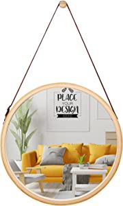 SANPON Round Hanging Mirror with Bamboo Frame Small Wall Mirror for Bathroom Living Room Small 15