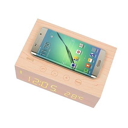 YOUMI multifunción Bluetooth estéreo madera altavoz inalámbrico cargador conconstruido en el Mic, termómetro, NFC y pantalla LED tiempo para ...