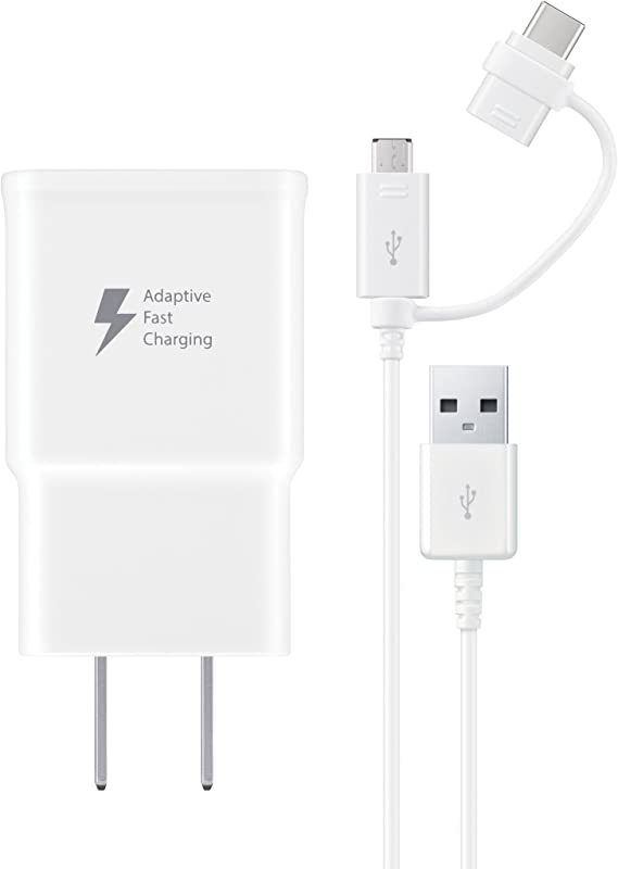 Samsung EP-DG930DWBNDL MicroUSB / USB-C Fast Charge Wall Charger - White - Retail Packaging