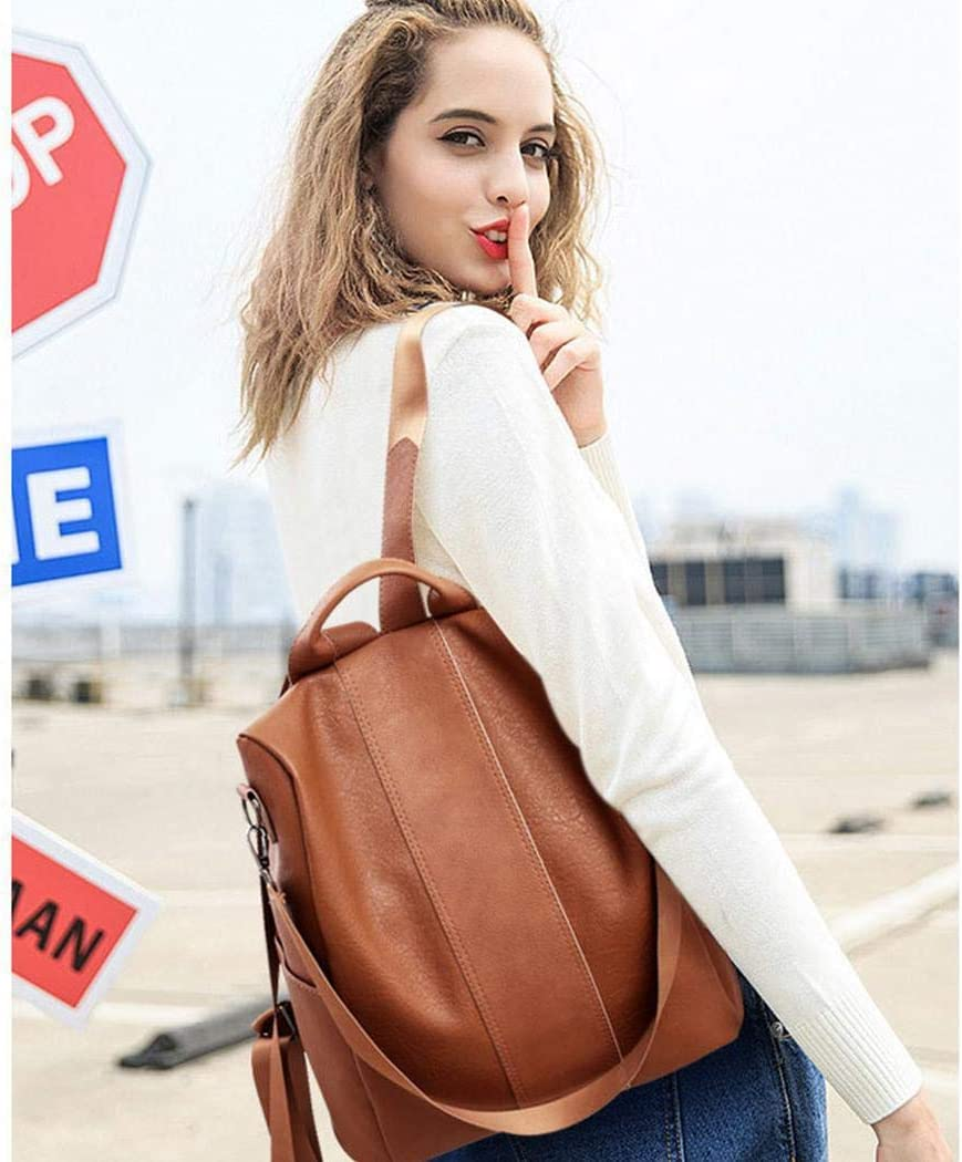 Oguine Women Backpack Purse PU Leather Anti-Theft Casual Shoulder Bag Fashion Ladies Satchel Bags Shoulder Bag Weekend Travel Daypack