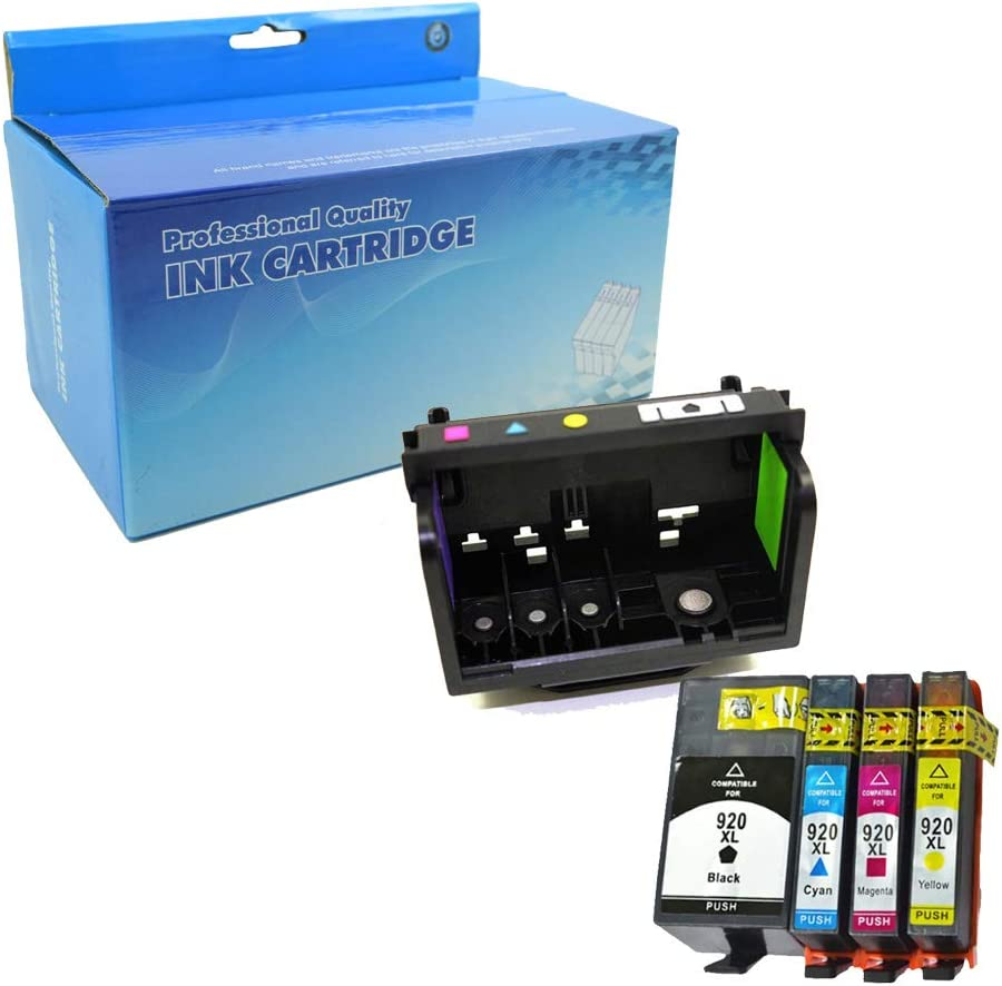 Lic-Store 1 Pack Refurbished Printhead and 1 Set of Ink Cartridge for 920 for HP Officejet 6000 6500A 6500 7000 7500 7500A E709 E710 Printer All-in-one (1 Printhead + 4PK Ink Cartridges)