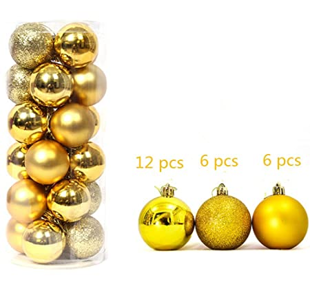 4cm 24pcs yellow christmas baubles christmas xmas tree decorations ornaments balls glitter matt diy hanging party - Yellow Christmas Decorations