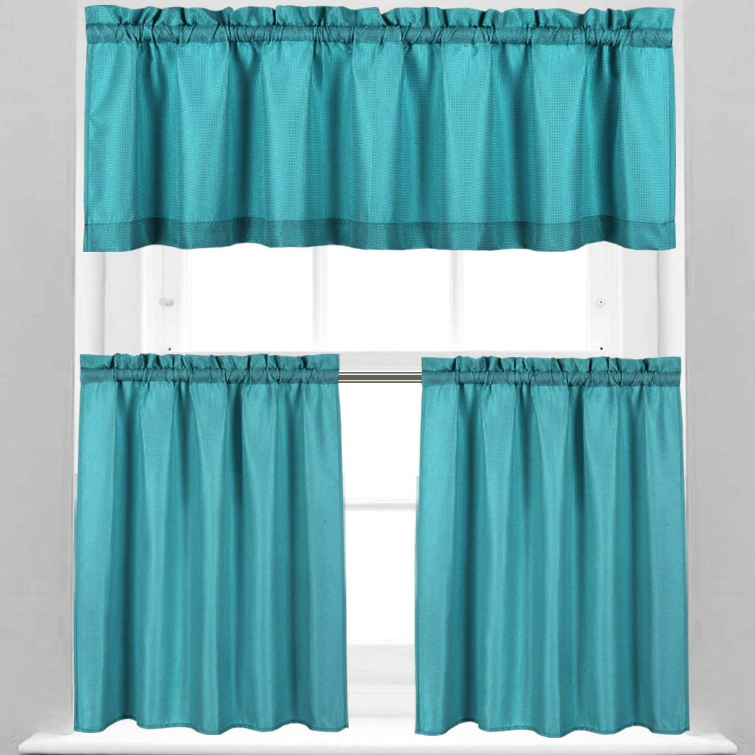 Valea Home Waterproof Kitchen Curtains Set for Bathroom Window, Turquoise, Valance + Tiers 24 inch Length