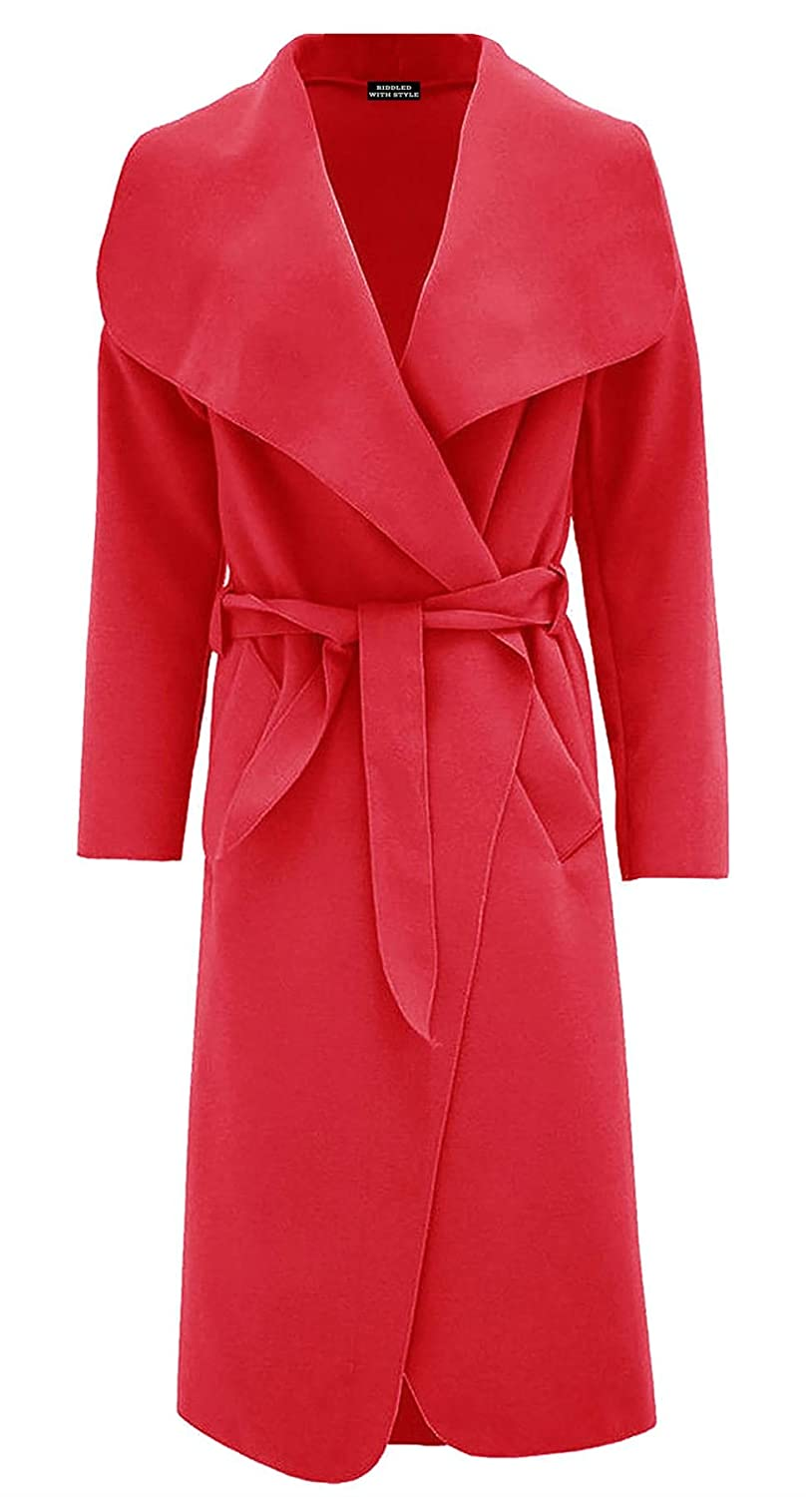 Ladies Plain Long Duster Coat Italian Women Waterfall French Belted Jacket Dress RIDDLED WITH STYLE