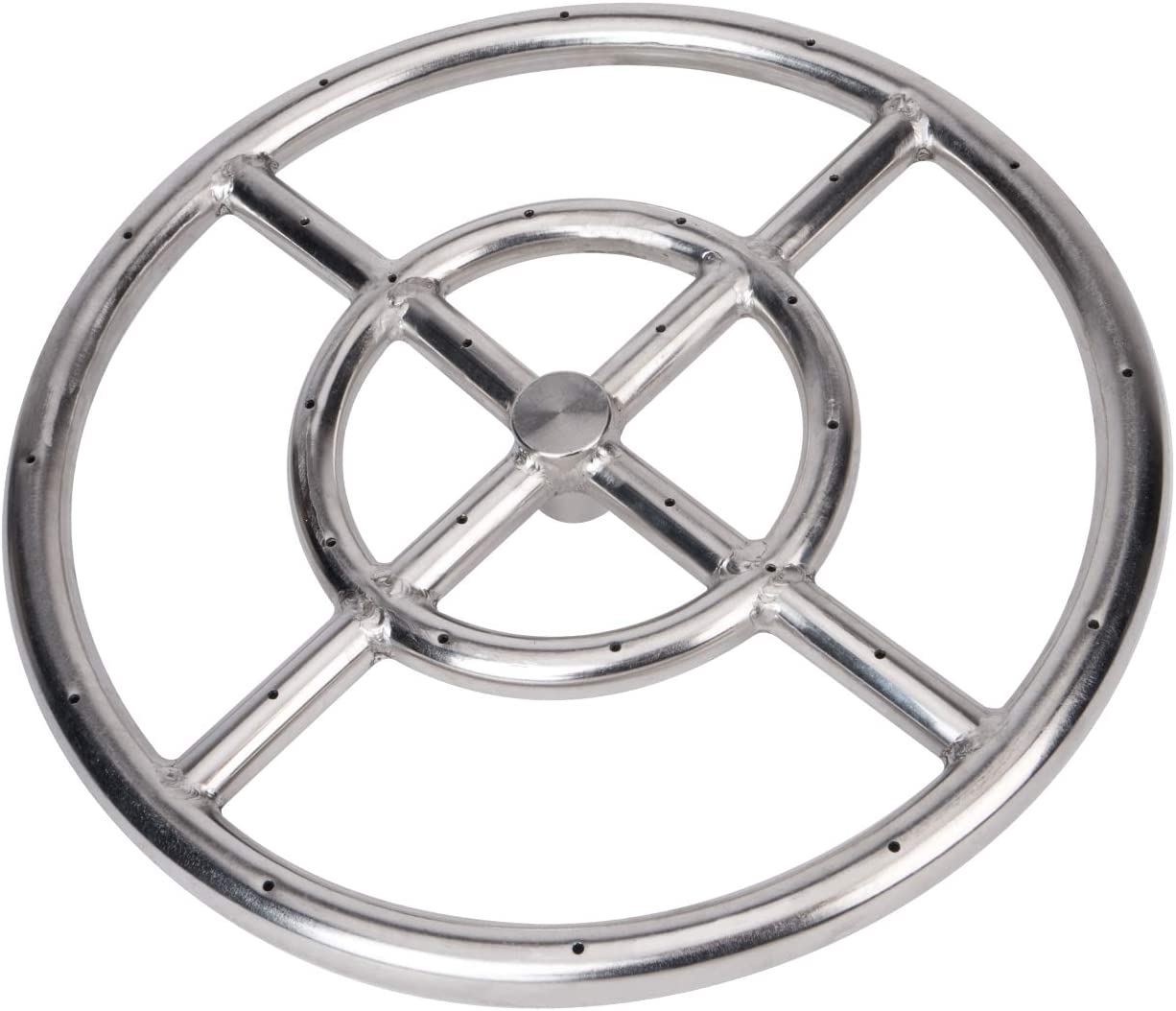 GASPRO 12 Inch Round Fire Pit Burner Ring, 304 Series Stainless Steel, Natural Gas or Propane Fire Pit, BTU 92,000 Max