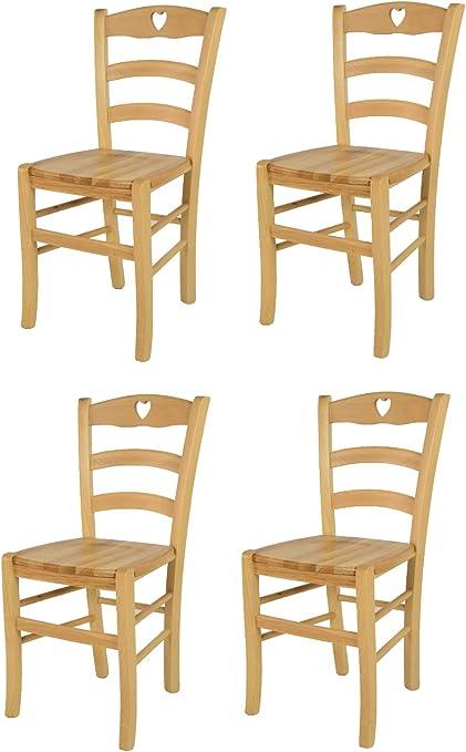 tmcs Tommychairs Set 4 sedie Classiche Cuore per Cucina e Sala da Pranzo, Robusta Struttura e Seduta in Legno di faggio Verniciata Naturale