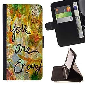 For HTC One A9 Case , Sono abbastanza Amore Citazione Vernice divertente - la tarjeta de Crédito Slots PU Funda de cuero Monedero caso cubierta de piel