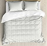 Arabian Queen Size Duvet Cover Set by Lunarable, Oriental Moroccan Star with Ethnic Spanish Design Inspiration Eastern Culture, Decorative 3 Piece Bedding Set with 2 Pillow Shams, Sage Green White