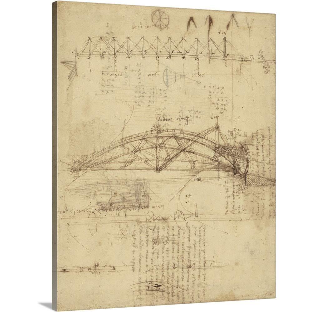 Leonardo Da Vinciプレミアムシックラップカンバスウォールアートプリント題名3種類のMovableブリッジ、からAtlantic Codex 11