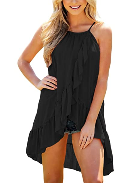 ee7742ec21d94 Amazon.com  Utyful Women s Casual Sleeveless Ruffle High Low Loose Flowy  Tank Tops Cami Shirt  Clothing