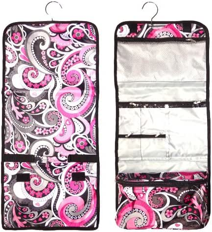 Best Large Pink Paisley Hanging Cosmetic Toiletry Bag Case Shower Caddy Unique Cool Great New Valentines Day Special Sale Gift Idea Under 15 Dollars for Women Her Teen Girl Grandma Mother in Law 2019