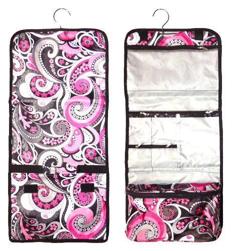 Best Large Pink Paisley Hanging Cosmetic Toiletry Bag Case Shower Caddy Unique Cool Birthday Great Popular Easter Basket Gift Idea Under 15 Dollars for Women Her Teen Girl Kid Grandma Mother in Law