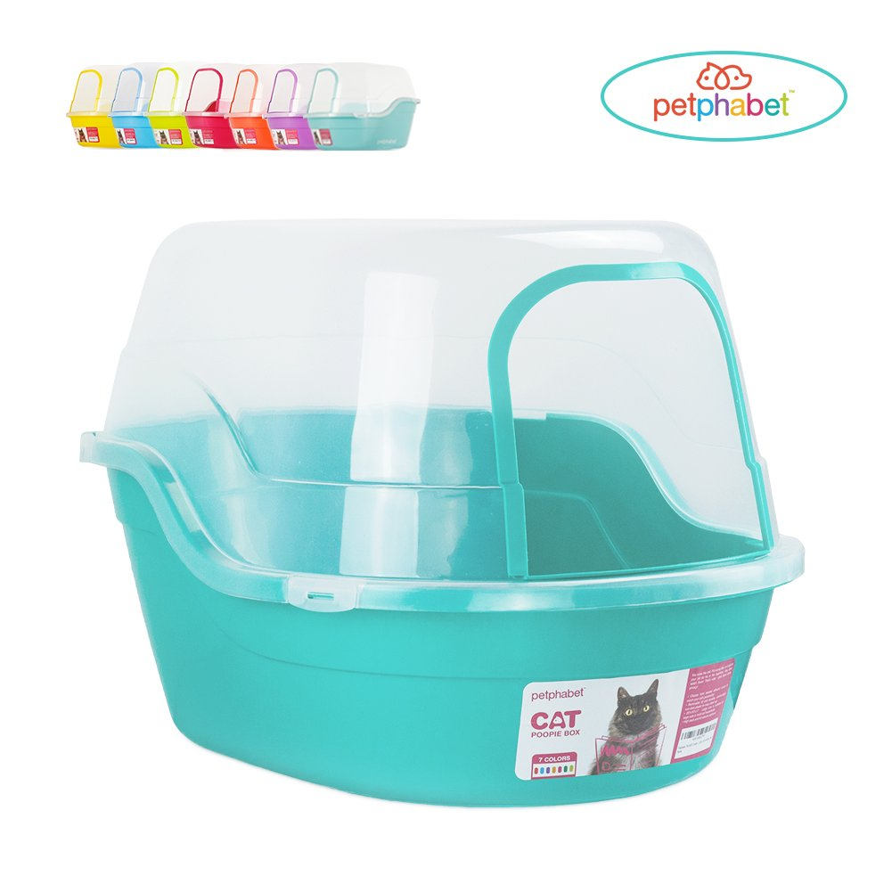 Petphabet Litter Box with Lid - Jumbo Hooded Kitty Litter Pan - Holds Up to Two Small Cats Simultaneously,Extra Large by