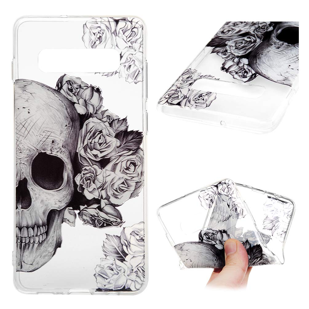 Galaxy S10 Case, Clear Slim Phone Cover Soft Flexible TPU Shockproof Full Body Protective Shield Anti-Scratch Rubber Bumper Cases for Samsung Galaxy S10 GENYON, Skull Flower