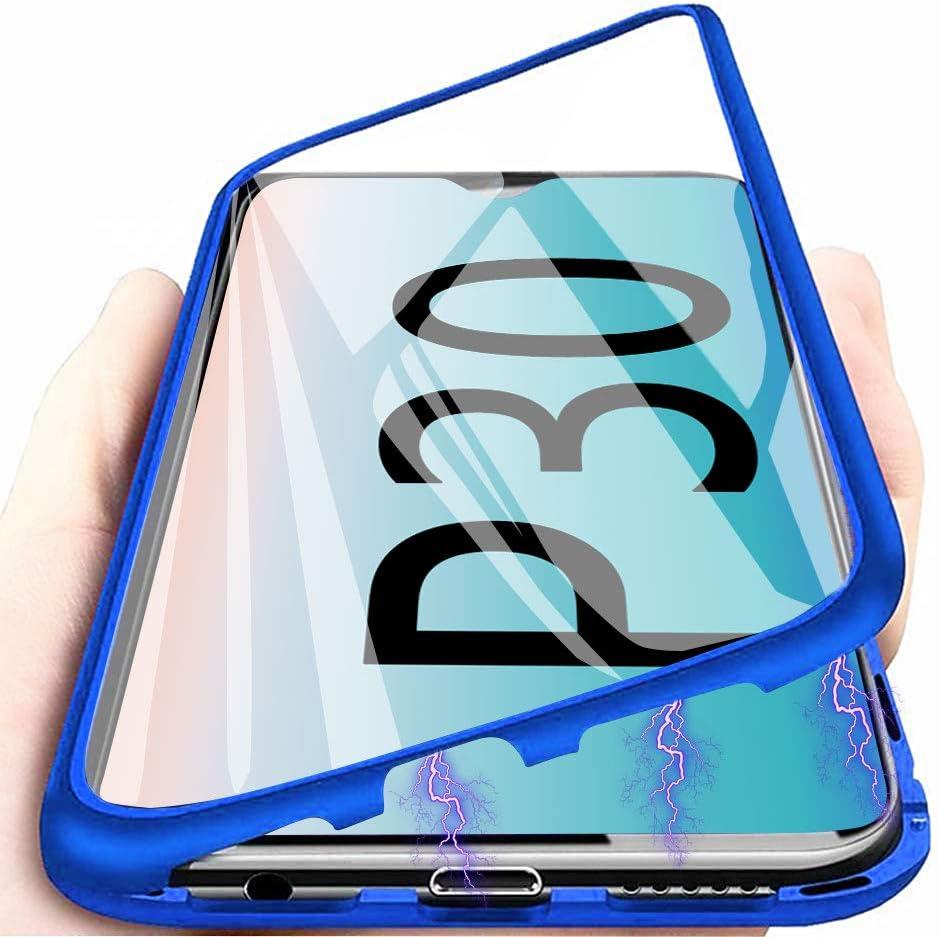 Funda Huawei P30, Anfire Adsorción Magnética Carcasa, 360 Grados Delantera y Trasera de Transparente Vidrio Templado Case Metal Bumper Cubierta Cover para Huawei P30, Roja: Amazon.es: Electrónica