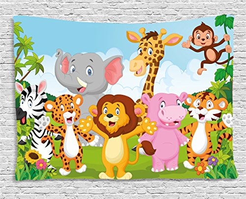 Ambesonne Nursery Tapestry, Comic African Savannah Animals Playful Friendly Safari Jungle Happy Wildlife Nature, Wall Hanging for Bedroom Living Room Dorm, 80 W X 60 L Inches, Green Brown