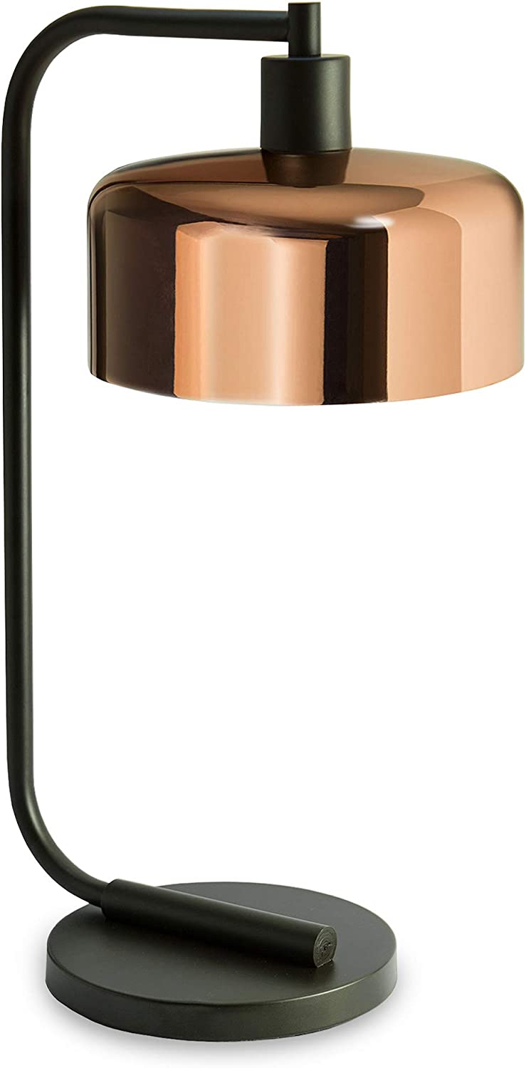 Henn&Hart TL0004 Industrial Modern Contemporary Style in Blackened Bronze, Polished Copper Metal Shade for, Night Stand, Bedroom, Living Room, Office, Study Table Lamp, One Size