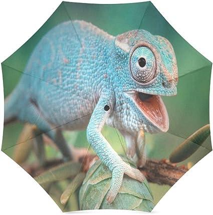 Custom Animal Chameleon Lizard Compact Travel Windproof Rainproof Foldable Umbrella
