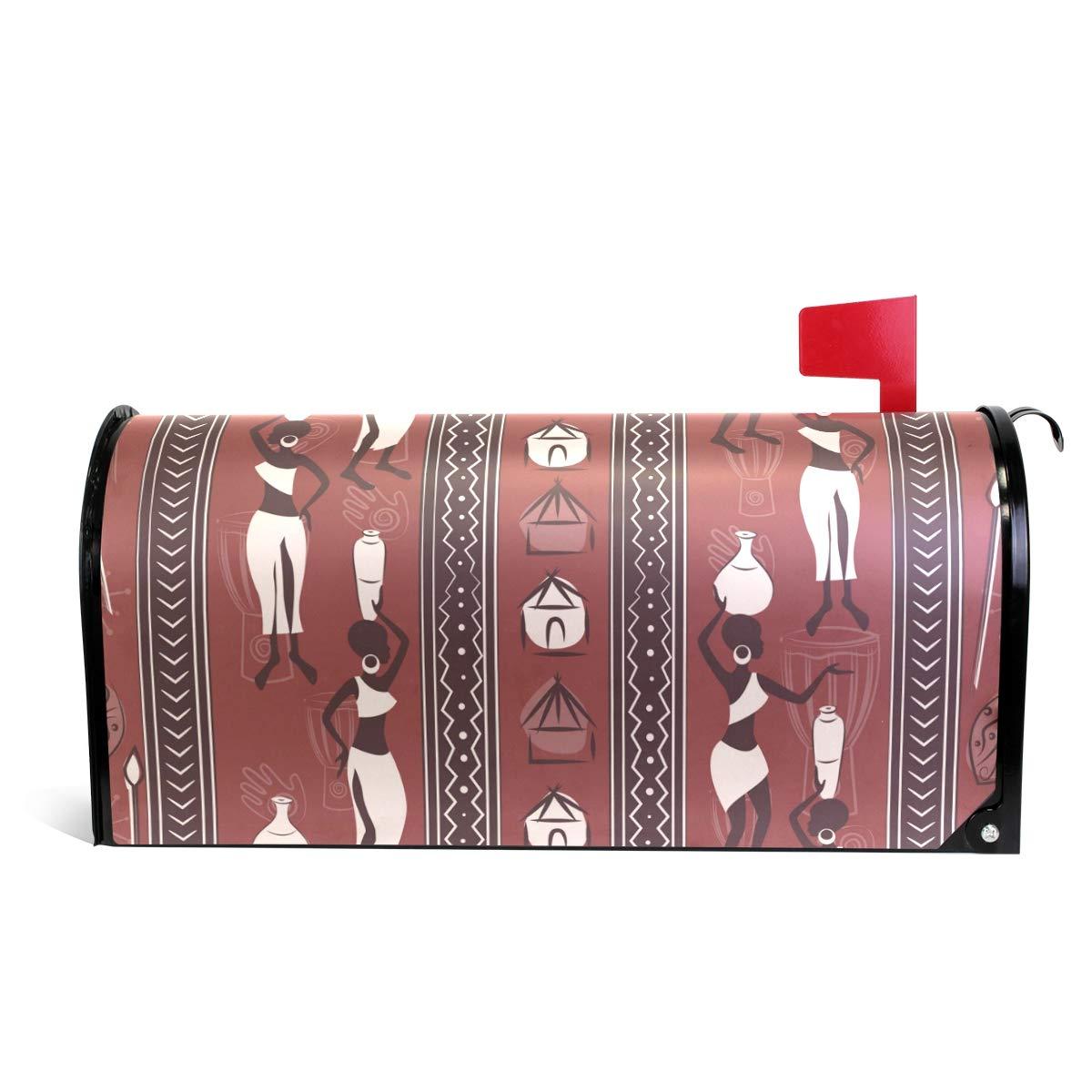 senya Home Garden African Ethnic Women Pattern Magnetic Mailbox Cover Standard