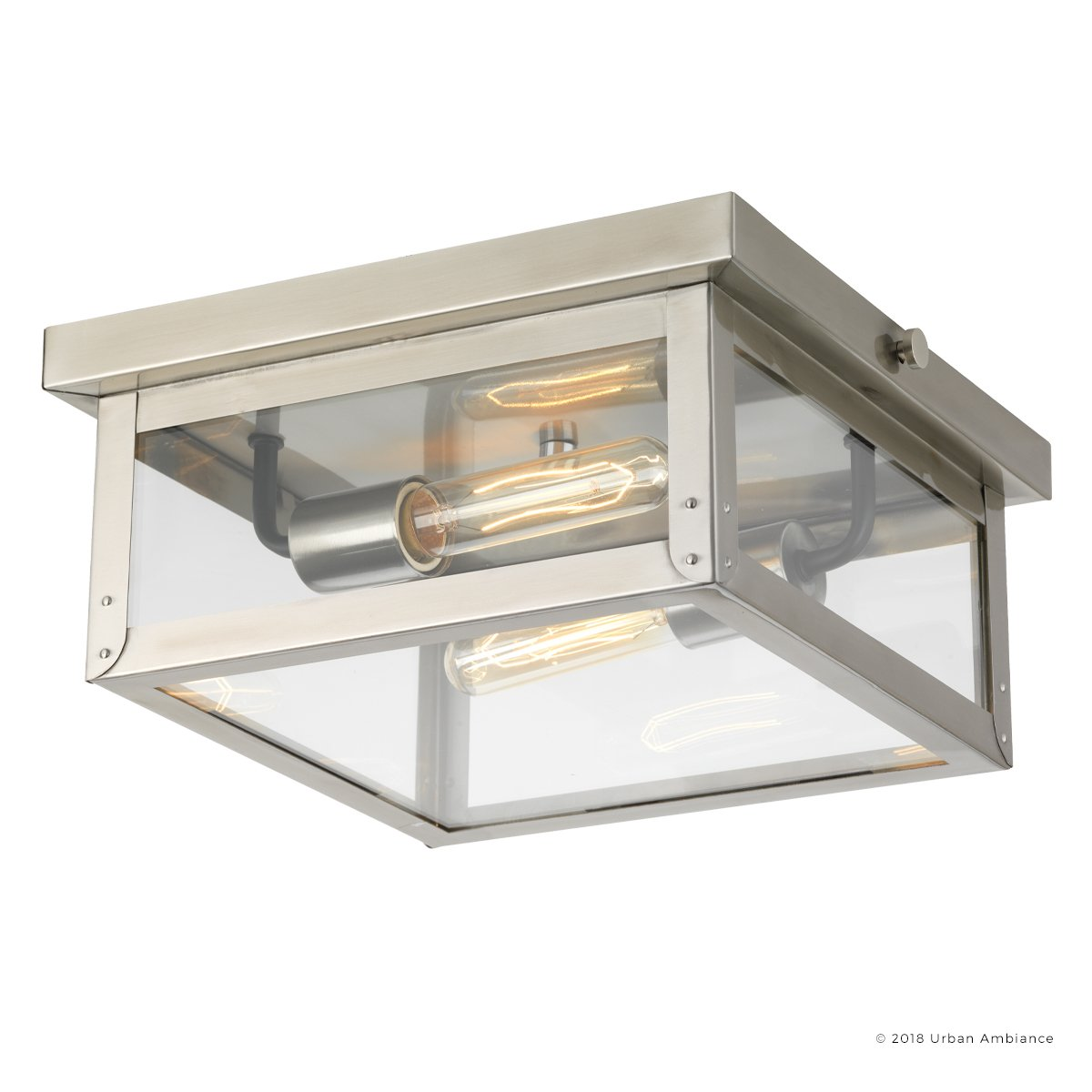 Luxury Modern Farmhouse Outdoor Ceiling, Small Size: 5.5''H x 12.375''W, with Nautical Style Elements, Stainless Steel Finish and Clear Flat Shade, UHP1133 from The Darwin Collection by Urban Ambiance