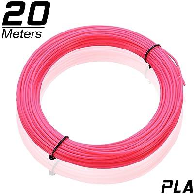 3D MARS 3D Impression Filament 1.75mm, 3D Filament PLA 20m(65ft pour Chaque Couleur) 3D Printing Filament pour 3D Imprimante et 3D Stylo, Précision Dimensionnelle +/- 0.05mm (rouge fluorescent)