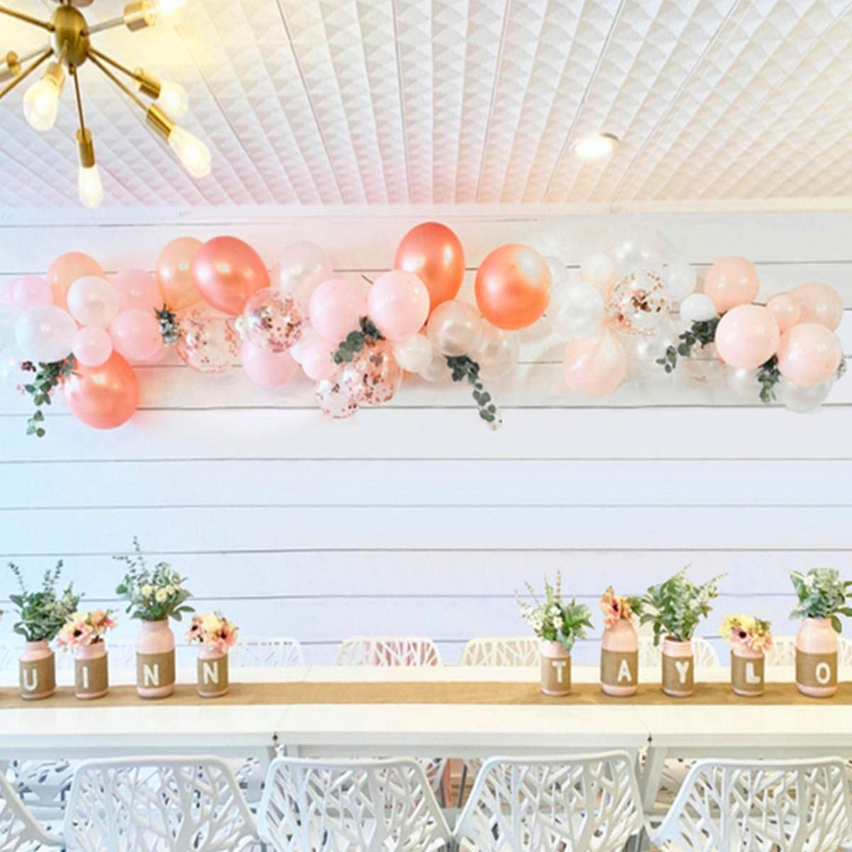 Balloon Arch & Garland Kit |100Pcs Rose Gold,Blush Pink &White Latex Party Balloons|16Ft Decorating Strip,Tying Tool,Glue Dots,Flower Clips| Wedding Birthday Baby Shower Bachelorette Party Decorations