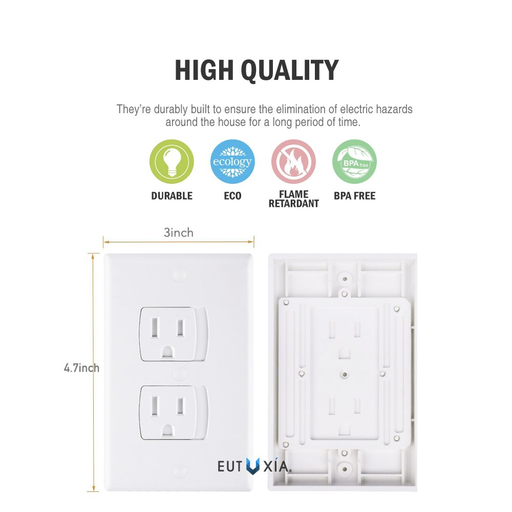 Eutuxia Universal Self-Closing Electrical Outlet Covers. Automatically Closes to Prevent Electric Hazards for Babies, Toddlers, and Children. Safety & Better Alternative to Wall Socket Plugs. [12 PK] by Eutuxia (Image #5)