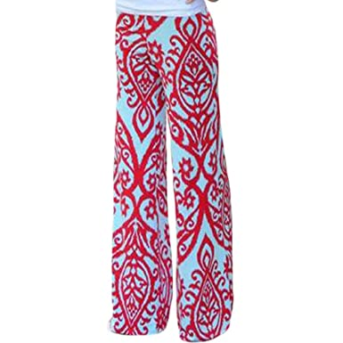 a4385f3d535 LOSRLY Women Wide Leg High Fold Over Waist Printed Boho Palazzo Pants Plus  Size-As