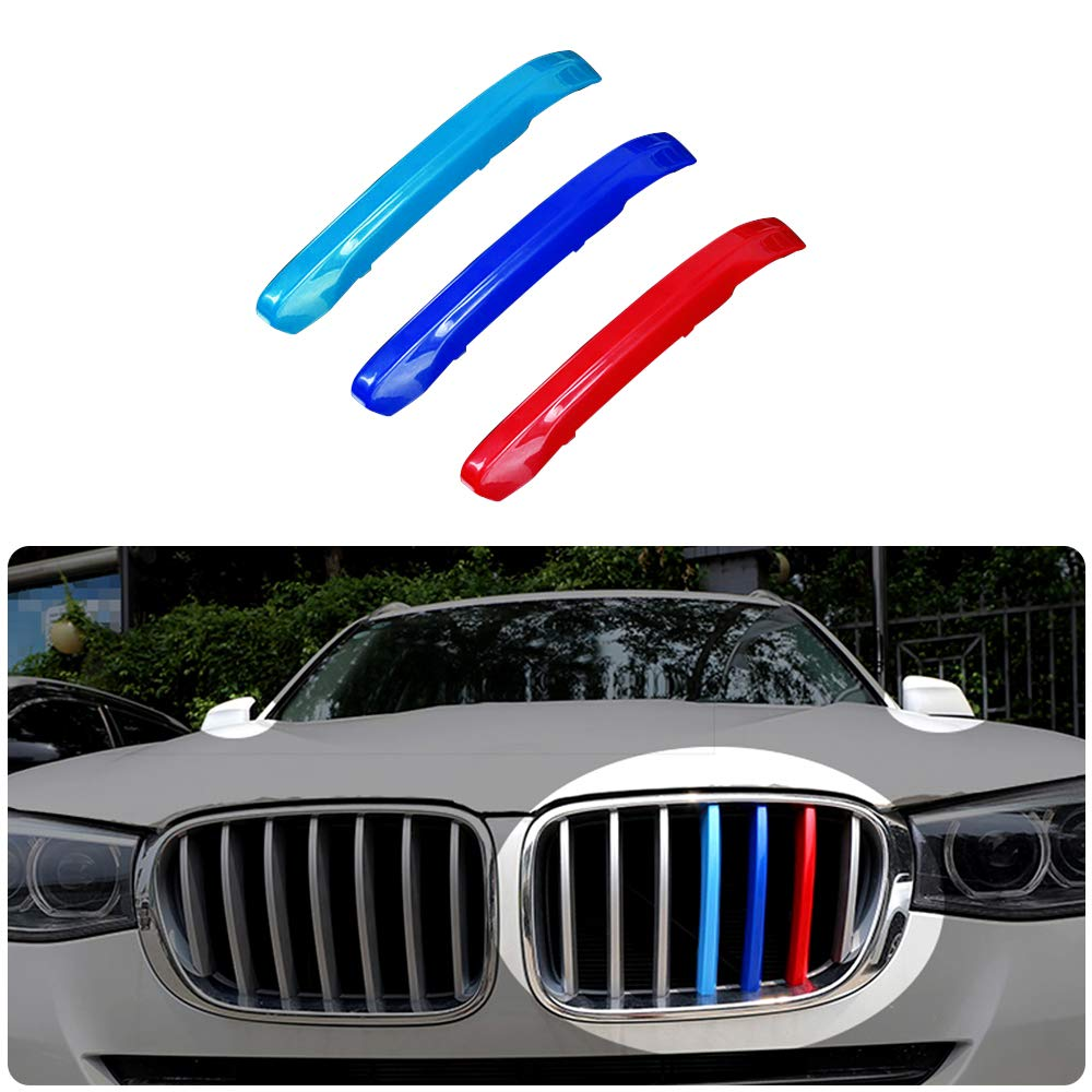 7Grilles Pour 11-17 X3 X4 F25 F26 3 Colors M Styling Front Grille Trim Strips Cover Stickers 3 Pi/èces