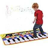 Cyiecw Piano Music Mat, Keyboard Play Mat Music Dance Mat with 19 Keys Piano Mat, 8 Selectable Musical Instruments Build-in S